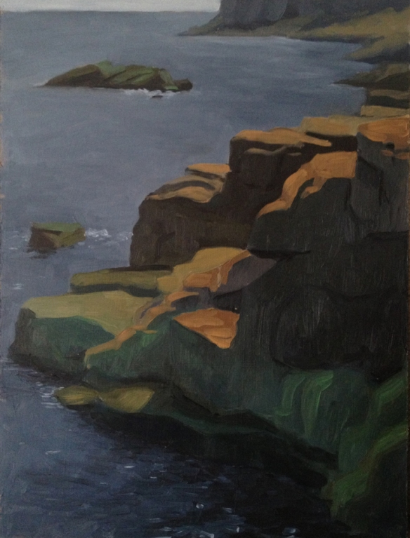 "Otter Cliffs : Oil on Board. 9""x12""  2013. painted on site."