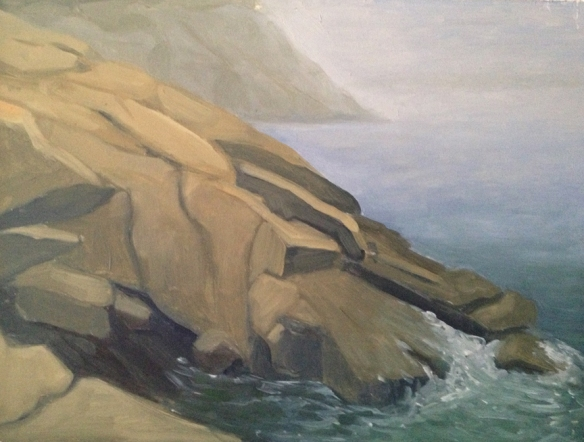 "Sand Beach In Fog : Oil on Board. 9""x12""  2013. painted on site."
