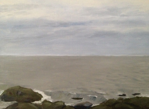 """Seawall : Oil on board. 9""""x12"""" 2013. Painted on site."""
