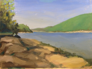 """Somes Sound : Oil on masonite.  9""""x12"""" (NFS) Painted on site."""
