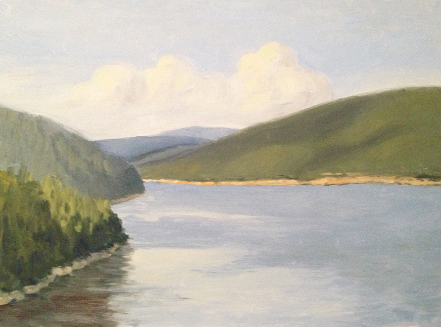 """Somes Sound Overlook : Oil on board. 9""""x12""""  2013. painted on site."""