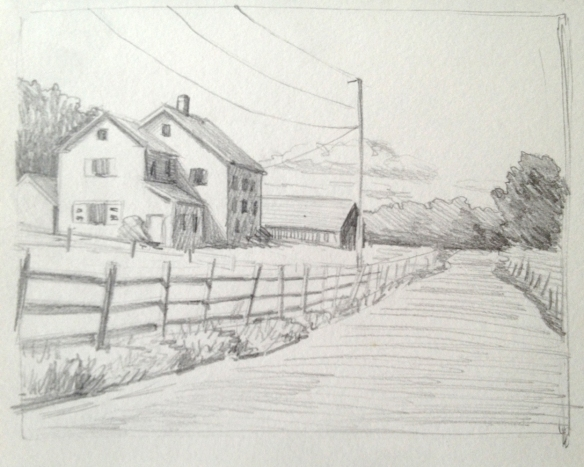 "Farm Drawing : Pencil.  3""x4"" 2013"