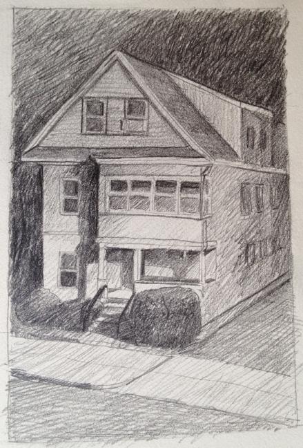 "House in Streetlight : Pencil 3""x4"" 2013"
