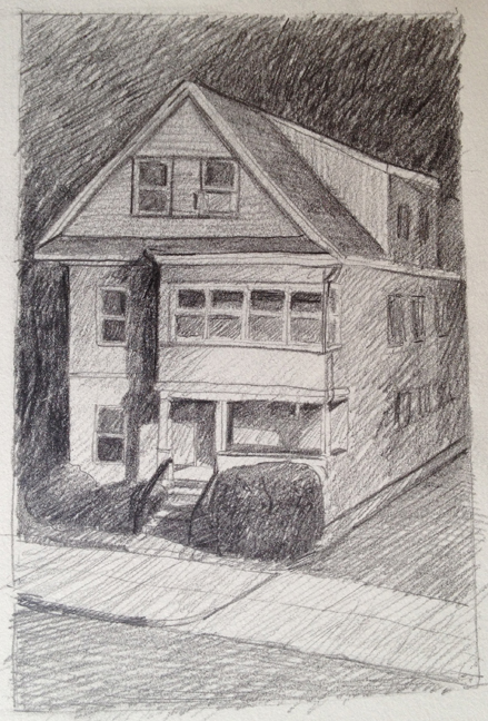 "House in Streetlight : Pencil 3""x4"" 2013"