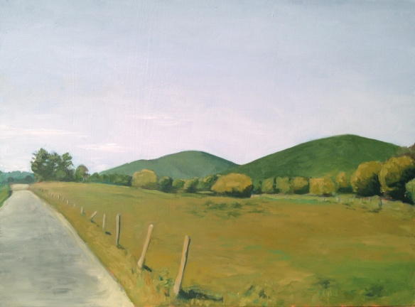 "Road and Mountains : Oil on Board, 9""x12"" 2013"
