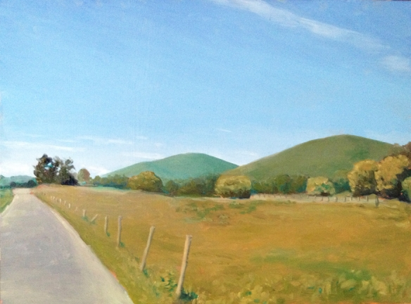 "Road and Mountains : Oil on board. 9""x12"" 2013"