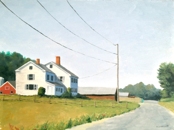 """Road and Farm : 9""""x12"""" Oil on board.  2013"""