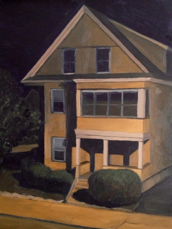 """Yellow House : Oil on board. 9""""x12"""" 2013"""