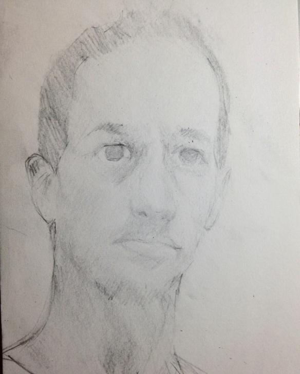 "Selfie : Graphite on paper. 5""x9"" 2013"