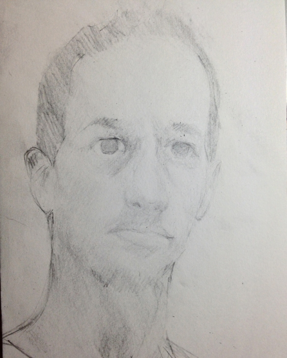 "Selfie : Graphite on paper. 5""x9"" 2013"