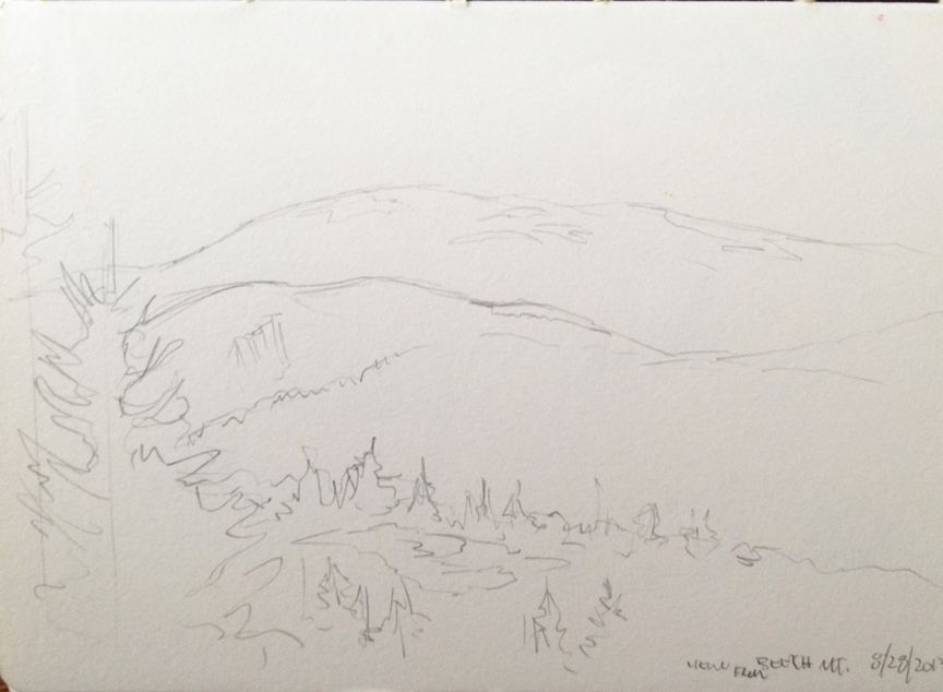 """View From Beech Mountain : Pencil. 5""""x7"""" 2013"""