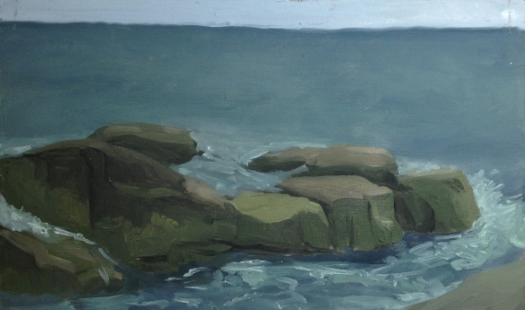 "Ocean Rocks : Oil on Board. 9""x5.5""  2013. painted on site."