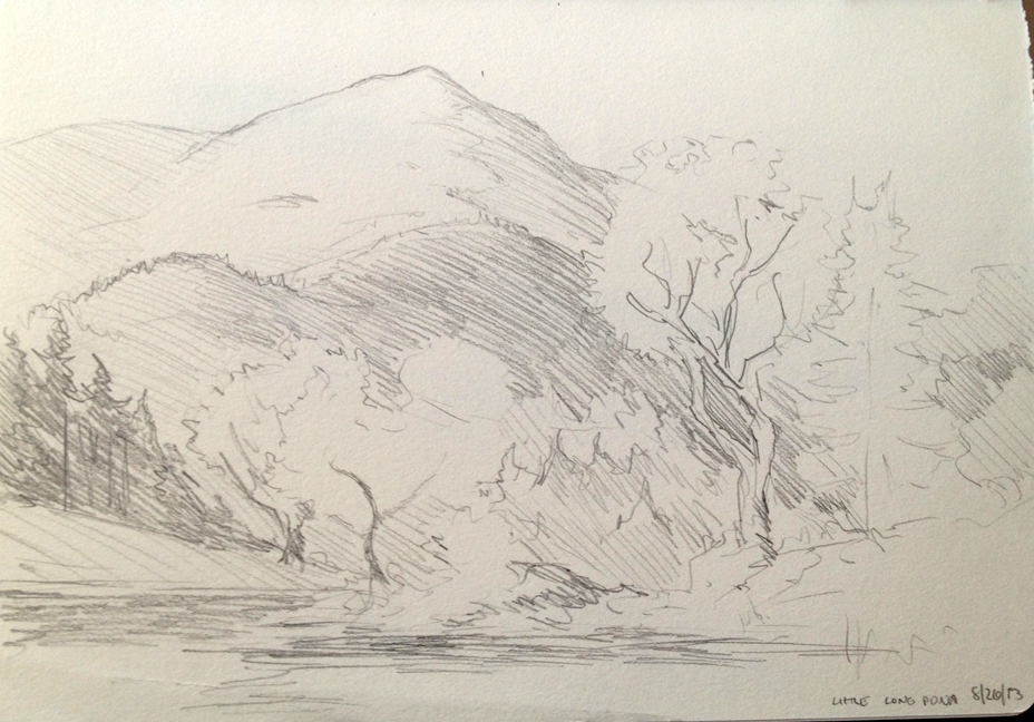 """View of Little Long Pond : Pencil. 5""""x7"""" 2013"""