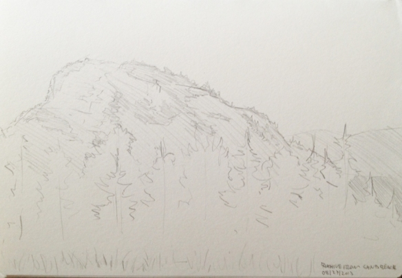 "Looking North from Sand Beach : Graphite 5""x7"" 2013"