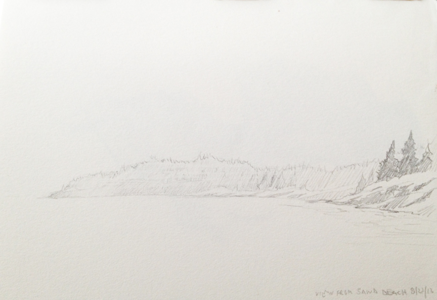 """Looking out from Sand Beach : Graphite 5""""x7"""" 2013"""