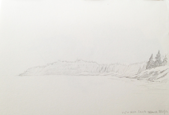"Looking out from Sand Beach : Graphite 5""x7"" 2013"