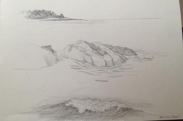 "Graphite studies of the rocks, waves, and vistas of Seawall beach.  5""x7"" 2013"