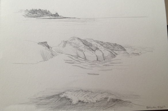 "Graphite studies of the rocks, waves, and vistas of Seawall beach.  5""x7"" 2013"