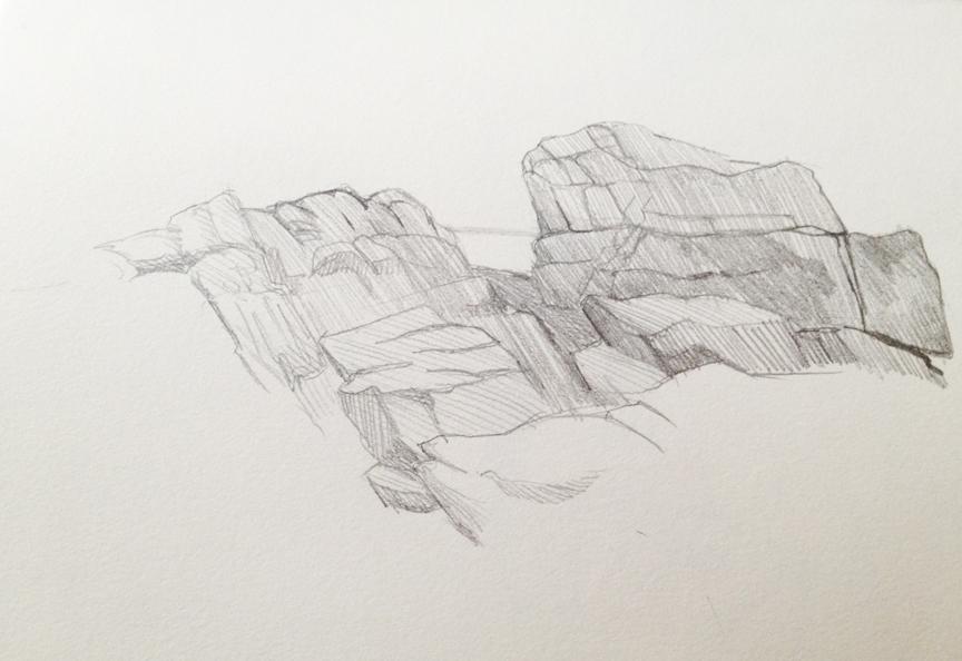 "The Rocks at Seawall : Pencil. 5""x7"" 2013"