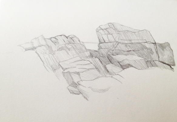 "The Rocks at Seawall : Pencil. 5""x7"" 2013"