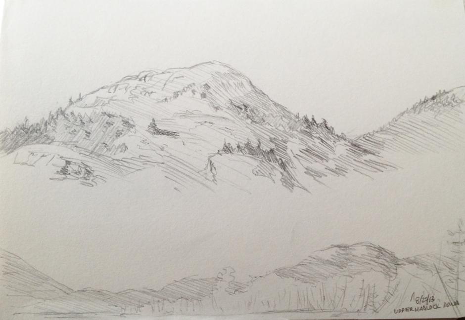 "Upper Hadlock Pond : Pencil. 5""x7"" 2013"