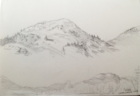 "Upper Hadlock Pond : Pencil. 5""x7"" 2013"