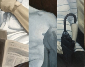 Some details of three paintings in the works