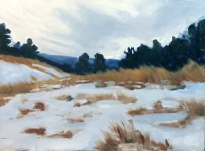 "Winter Field Sketch : Oil on board. 9""x12"" 2014"