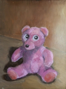 "Pink Teddy : Oil on board. 9""x12"" 2014"