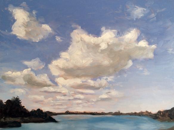 """Cloud Study (Salem) : Oil on board. 8""""x10"""" 2014"""