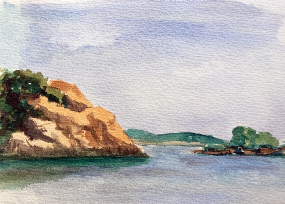 Singing Beach.  Watercolor. 9x12ish. 2014