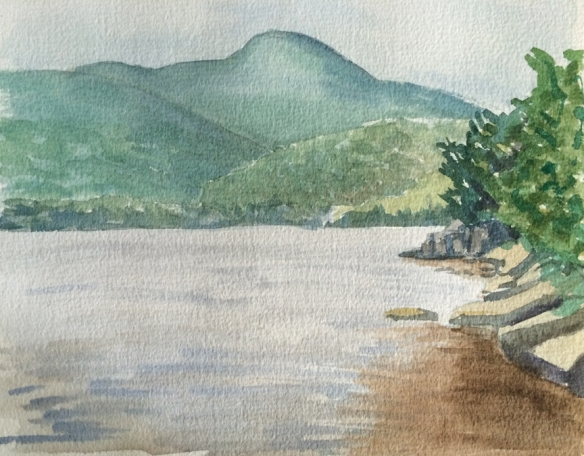 """Untitled (mountains) : Watercolor on paper. 9""""x12"""""""