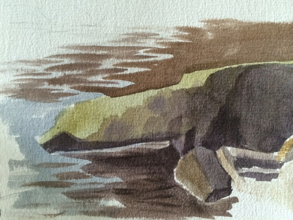 Untitled (rock sketch) : Watercolor on paper. 2014
