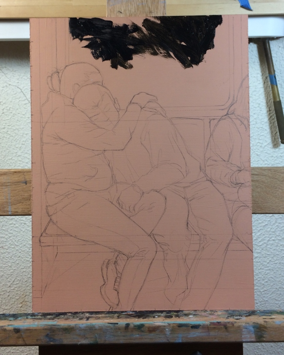 I start on a pinkish background with a careful drawing.  And then slowly build the underpainting up from there.