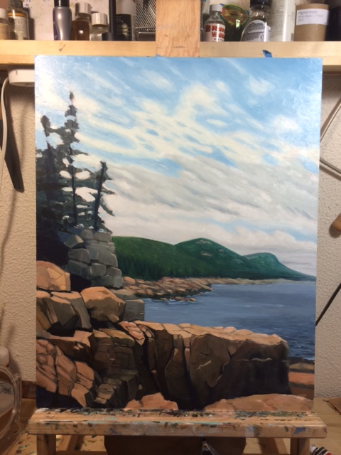 Step 5. I finally got the sky somewhere manageable - although not nearly as beautiful and soft as the initial blocking...I also brought in the highlights on the rocks in the foreground.