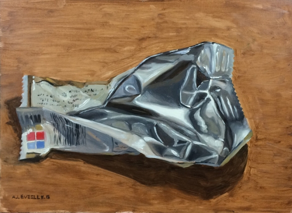 "untitled (candy bar wrapper)  : Oil on panel. 8""x11"" 2015"