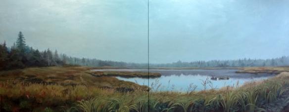 "untitled (marsh) : Oil on canvas. 24""x60"" 2014"