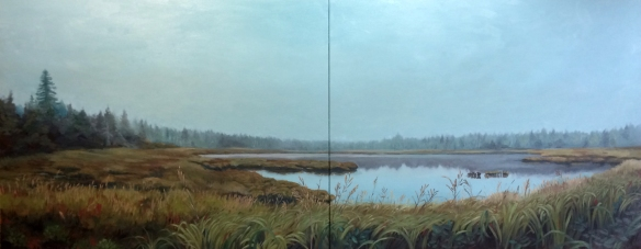"untitled (marsh) : Oil on canvas. 24""x60"" 2014"