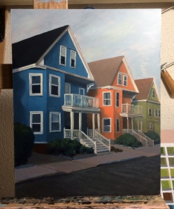 "Houses : Oil on panel.  12""x16""  2015"