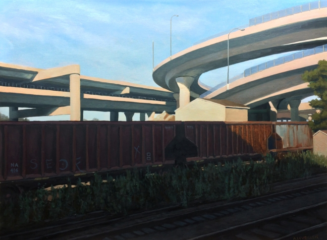 """untitled (overpass) : Oil on board.  18""""x24"""".  2015"""