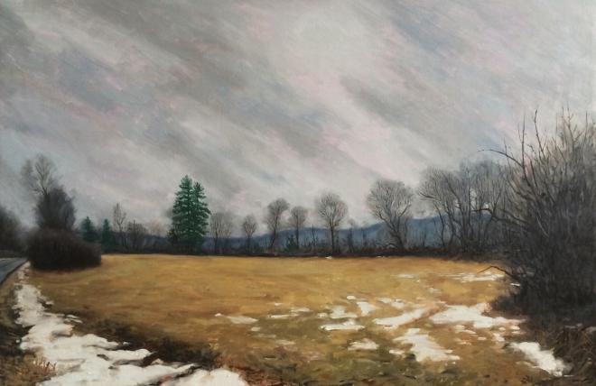 """untitled (winter field) : Oil on linen. 24""""x36"""" 2015"""