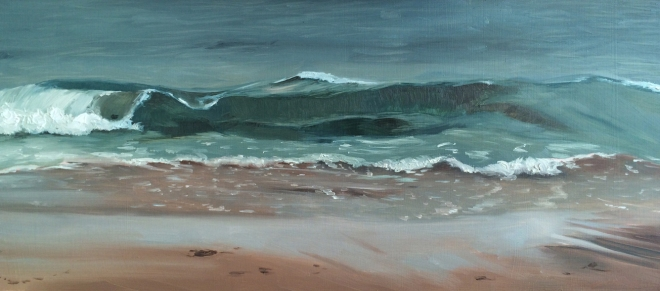 """untitled (wave study) : Oil on linen. 8"""" x 18"""". 2015"""