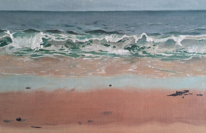 """untitled (wave study) : Oil on linen. 18"""" x 12"""". 2015"""