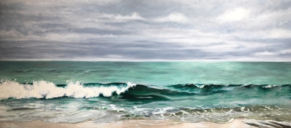 "untitled (waves) : Oil on linen. 48"" x 22"" 2016"