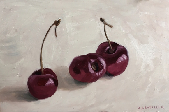 "untitled (cherries II) : Oil on board. 6""x9"" 2016"