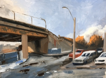 "Overpass Study : Oil on board. 9""x12"" 2016"