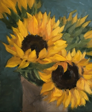 "Sunflowers (study) : Oil on board. 8"" x 10"" 2017"