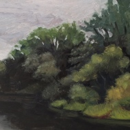 "Charles River Reservation 1: Oil on board. 9″x 12"" 2017"