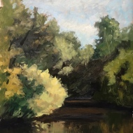 "Charles River Reservation 2 : Oil on board. 9″x 12"" 2017"