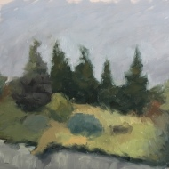 "Foggy Embankment : Oil on board. 9″x 12"" 2017"